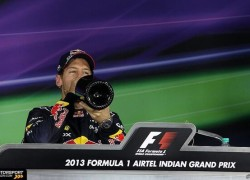 Sebastian Vettel, Red Bull Racing, at the press conference after the Indian GP