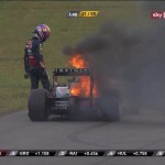 Mark Webber's car on fire at the Korean Grand Prix