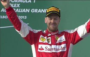 F1 Australian GP, Sebastian Vettel on the podium for Ferrari