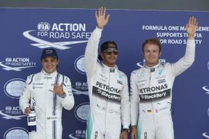 British Grand Prix - Qualifying - Top 3 - Lewis Hamilton, Nico Rosberg, Felipe Massa