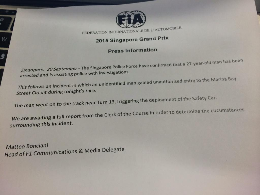 Singapore GP man on track arrested