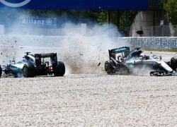Spanish Grand Prix, Lewis Hamilton & Nico Rosberg crash