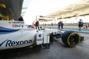 Yas Marina Circuit, Abu Dhabi, United Arab Emirates. Tuesday 28 November 2017. Robert Kubica, Williams FW40 Mercedes, leaves the garage. World Copyright: Zak Mauger/LAT Images ref: Digital Image _56I4591
